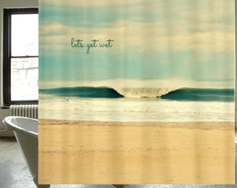 Fabric Shower Curtain  -  Original Photography by RDelean Designs - beach, ocean, sea, wave, Winter Wave Surf