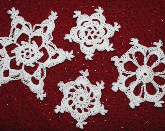 Four Easy Snowflakes Thread Crochet Pattern