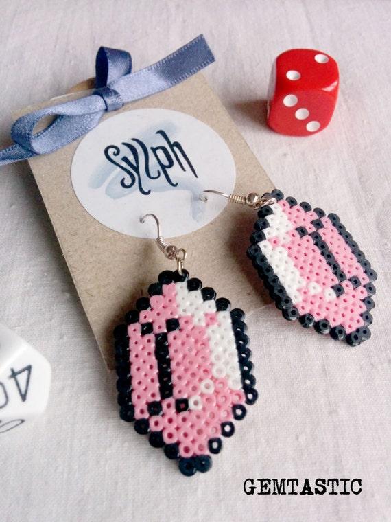 Light pink pixel jewelry, Zelda game inspired Gemtastic earrings for gamer girls made of Hama Mini Perler Beads