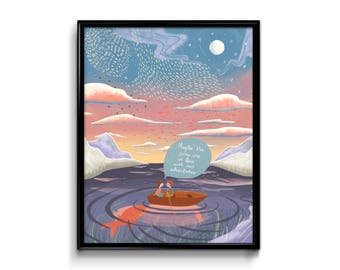 """Moonlight Art Print - """"Maybe the stars are in love with our adventures"""" - Love Constellation sunset hanging decor decoration poster romance"""