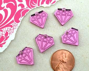 MINI PINK DIAMONDS -  Mirror Charms - flat back - Laser Cut Acrylic