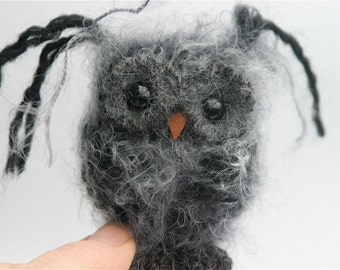 Plush Dark Gray Baby Owl ... knit fuzzy ecofriendly felt wool owl toy (woolcrazy)