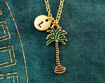 Palm Tree Necklace Palm Tree Charm Necklace Beach Jewelry Tropical Jewelry Pendant Necklace Personalized Necklace Initial Necklace Vacation