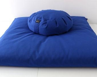 Meditation Cushion Set - Electric Blue Zabuton & Buckwheat Zafu