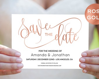 Rose Gold Save The Date - Save The Date Template - Faux Foil - Rose Gold Wedding - Downloadable wedding #WDH302_5