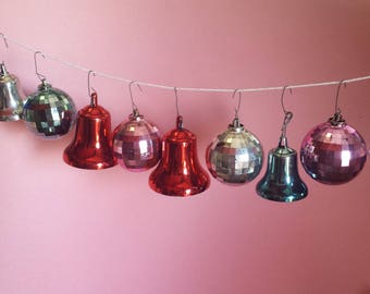 Vintage plastic Christmas ornaments, bell, round, stripes