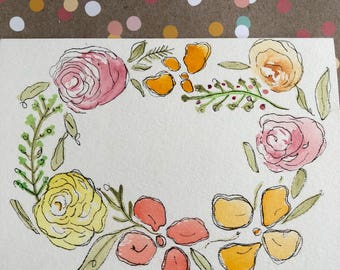 Hand Painted Cards, Watercolor Flower Card, Original Cards