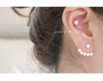 Pearls Front and Back Stud Earrings/ Pearls Ear Jackets