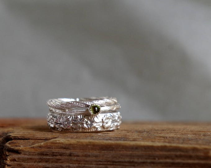 Peridot Ring Stack Ring Jewelry Statement Ring Floral Gemstone Silver Rings August Birthstone Gifts for Leo