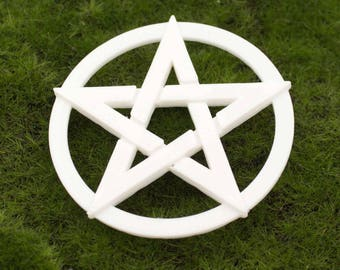 White 3D printed Pentacle Altar Tile Protection
