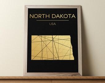 North Dakota Wall Art, North Dakota Poster, North Dakota Map, North Dakota State Sign, North Dakota Map Print, Geometric Art, JPG