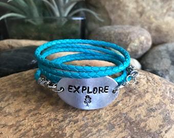 Explore leather wrap bracelet, traveler jewelry, world traveller, graduation gifts, travel bracelet, explore jewelry, blue