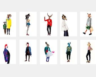 Art postcard set, animal postcards, 10 postcard set, modern stationery, animals in clothes,sets of postcards,unique postcard set,dressed fur
