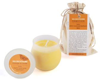 Sea Buckthorn Oil Candle - Citrus Massage Oil - Scars Treatment - Stretch Treatment - Candle - Massage Oil - Natural Cosmetics - Organic