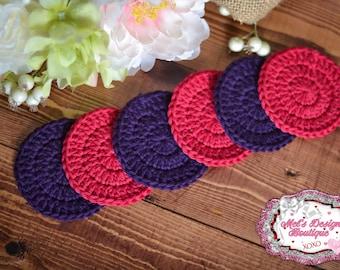 makeup remover pads - 100% cotton scrubbies - facial set - crochet cotton rounds - crochet - facial rounds - facial scrubbies