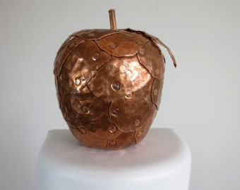Unique Hammered Copper Apple Sculpture Made to Order