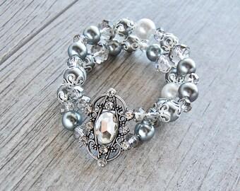 Boho Jewelry, Boho Bracelet, Gemstone Bracelet, Stretch Bracelet, Handmade, Beaded Bracelet, Pearl Bracelet, Formal Bracelet, Wedding