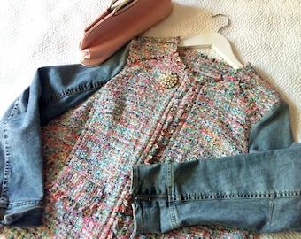 Twede+denim recycled jacket, Charming twede jacket, Denim recycled jacket, Fringed jacket