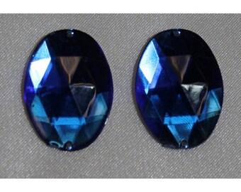 Oval acrylic rhinestone - 25mm x 15 mm - blue