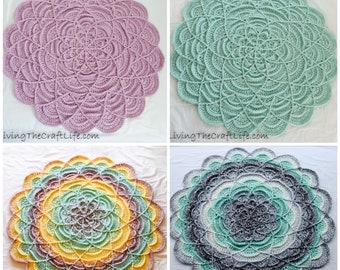 CUSTOM Crochet Round Flower Ripple Blanket - Baby Blanket, Lap Blanket, Decor - MADE to ORDER