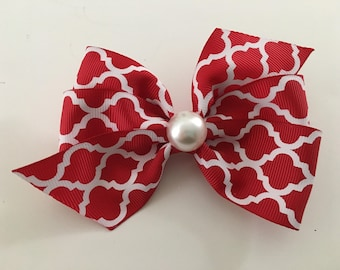 Red and White Christmas Bow Red Quatrefoil Bow Christmas Bow with Pearl Red Christmas Bow with Pearl Dressy Christmas Bow Festive Bow