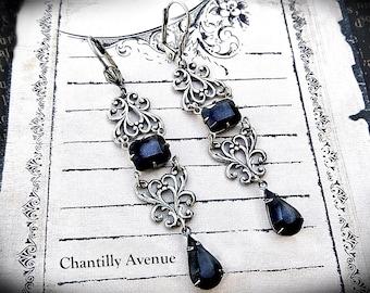 Jet Victorian Earrings Vintage Style Victorian Jewelry Handmade Rhinestone Gothic Earrings, Silver Art Nouveau Black Jewel Earrings