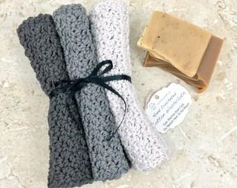 3 Shades of Gray Dishcloth Set Cotton Washcloth Crochet Dish Cloths Pewter Charcoal Smoke Handmade Dishcloths Grey Wash Cloths Dishrag Knit