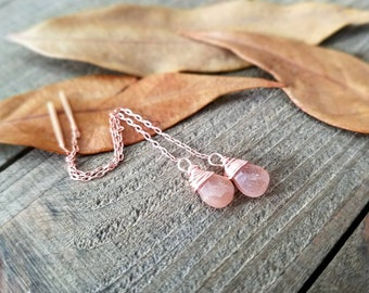 Peach moonstone earrings - rose gold ear threaders - threader earrings - rose gold threaders - peach moonstone jewelry - rose gold earrings