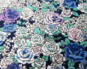 Floral Cotton Fabric By The Yard - Romantic Roses in Blue and Purple Fabric - Fat Quarter