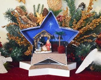 Nativity, Nativity Scene, Nativity Diorama, Christmas Diorama, Christmas Miniature, Christmas Decoration, Table Decoration,Ready to Ship!