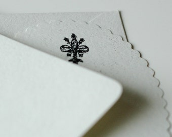 FLEUR de LYS STATIONERY - black and white fleur de lys card set of 4 with scalloped edges and crisp white envelopes - stamped and embossed