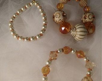 Pearl Bangle Bracelet Set