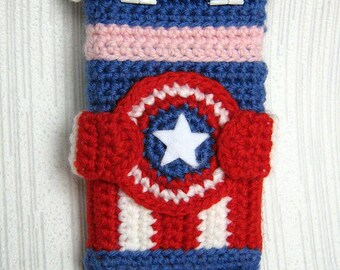 PDF PATTERN - Captain America - iPhone 5 crochet case (cozy, sleeve, cover)
