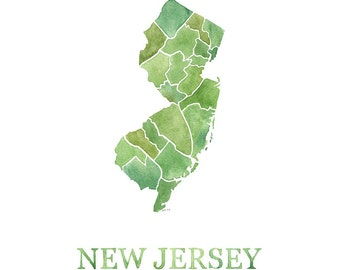 New Jersey Counties watercolor map print