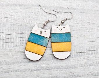 Wood cat earrings, Candy earrings, Colorful cat, national Ukraine flag, Nickel free dangling jewellery