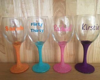 Personalised Glittered Wine Glass