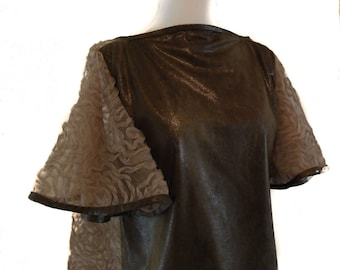 Vegan Leather And Lace Bodice