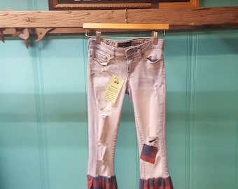 Aeropostle Jeans upcycled with plain bell bottoms / flare. size 00. OOAK. Repurposed by #ReThreadz