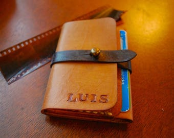 Mens Leather Minimalist Wallet. Veg Tanned Mens Slim, Thin Leather Card Wallet. Boyfriend Wallet. Mens Leather Wallet.