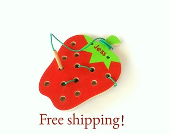 Second birthday gift, Sewing toy - Strawberry, Motor skills toy, Educational toy, Toddler toy, Personalized Wooden Toy, free shipping