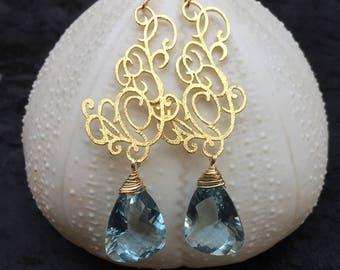 Blue Topaz Gold Earrings. London Topaz Gemstone Earrings. Luxury Fine Jewelry. Filigree Earrings. November Birthstone.