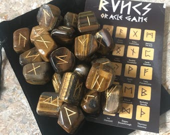 Rune Stones - Golden Tigers Eye Tumblestone Crystal Divination Runes with Pouch and Symbol Sheet, Elder Futhark Runes.