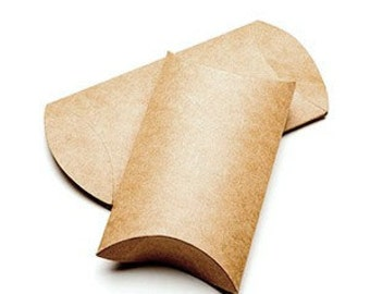 25 Brown Kraft Pillow Boxes 5 x 1 1/4 x 7 Inches, Usable Space 5 x 5 3/4 Inches
