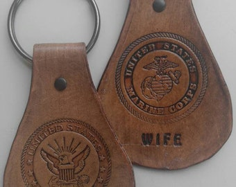 Military insignia over sized key chain marines, army, air force, coast guard, national guard, navy