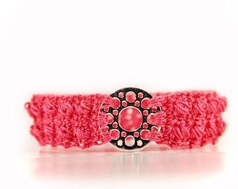 pink bracelet - hand crocheted - crochet bracelet - colorful bracelet - women bracelet - yarn bracelet - beach bracelet - textile bracelet