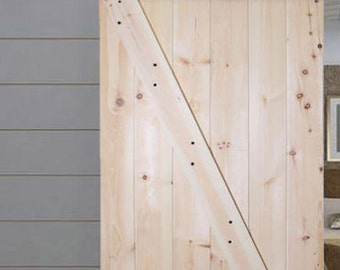 Solid Core Knotty Pine Barn Door with Hardware
