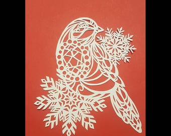 Beautiful Robin Papercut framed festive Christmas gift present winter birds snowflakes unique special