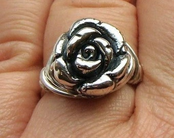 Rose Flower Ring Sterling Rose Flower Design Wire Wrapped in Sterling Silver Ring Novelty Ring Statement Ring