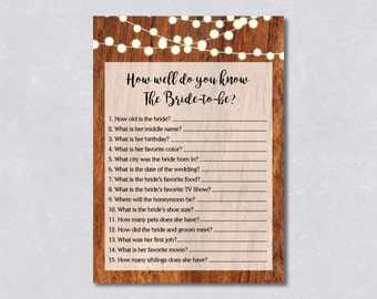 How well do you know the bride-to-be / Bridal shower game / Rustic wooden / String lights / DIY Printable / INSTANT DOWNLOAD