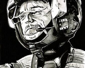 Star Wars - Rogue One - Rebel X-Wing Pilot General Merrick original ink drawing